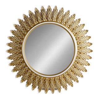 Hand Carved Wooden Sunrise Mirror For Sale