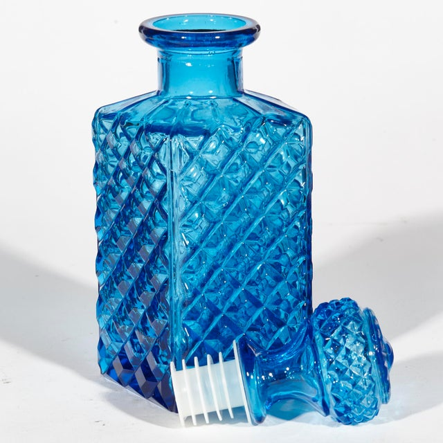 1960s Square Blue Glass Decanter For Sale - Image 4 of 5