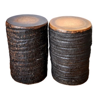 Boho Chic Coconut Stump Side Tables - a Pair For Sale