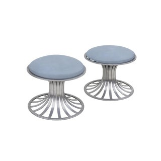 Round Tulip Style Aluminum Ottomans by Russell Woodard, Pair For Sale