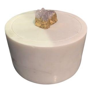 Modern Stone Druzy Stone Lidded Box For Sale