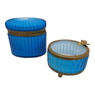 Vintage Mid Century Blue Murano Glass Boxes- A Pair For Sale