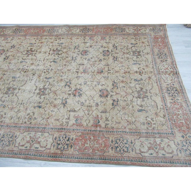 Vintage Turkish Oushak Distressed Rug- 6′7″ × 9′8″ For Sale - Image 10 of 12