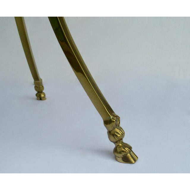 Vintage LaBarge Regency Brass Hoofed & Bronze Glass Gueridon Table For Sale - Image 12 of 13