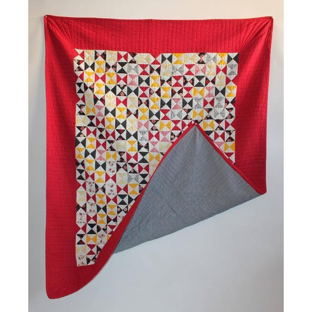 1950s Vibrant Mini-Peiced Hour Glass Crib Quilt For Sale - Image 5 of 7