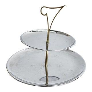 Art Deco 2 Tier Silver Serving Tray