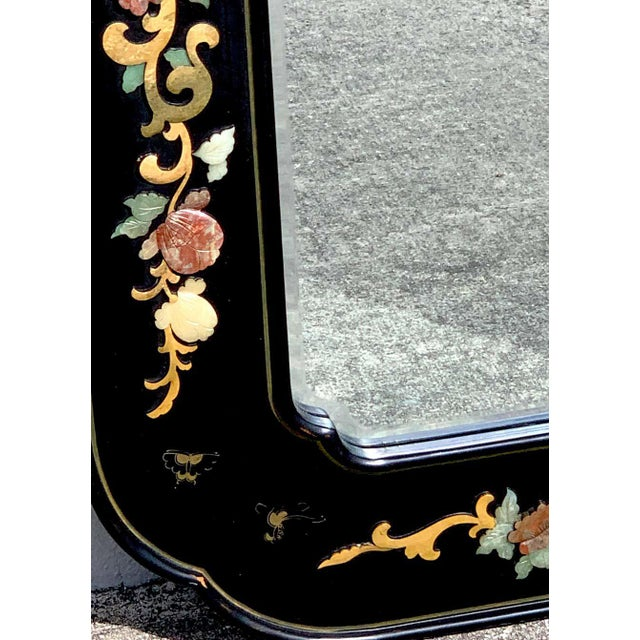 Chinese Export Lacquer and Hardstone Mirror For Sale In West Palm - Image 6 of 7