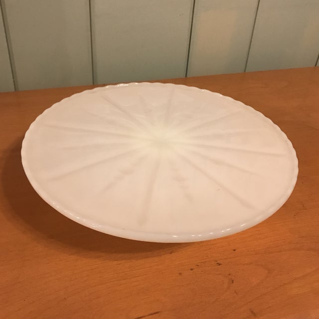 """Beautiful Mid Century White Milk Glass Cake Stand. Lovely display / serving piece for entertaining. Will hold a 10""""..."""