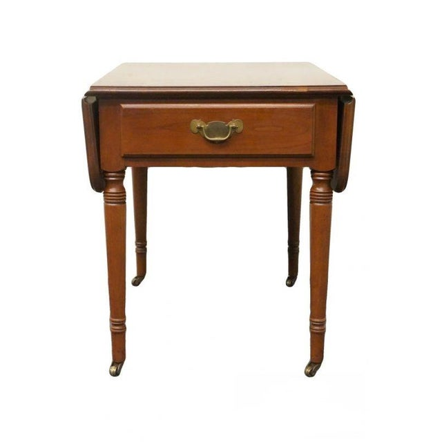 20th Century Tradiitonal Statton TruType Americana Solid Cherry Drop Leaf Pembroke End Table For Sale - Image 13 of 13