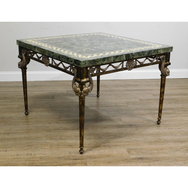 1990s Maitland Smith Neo-Classical Square Marble Top Bronze and Iron Game Table For Sale - Image 5 of 13
