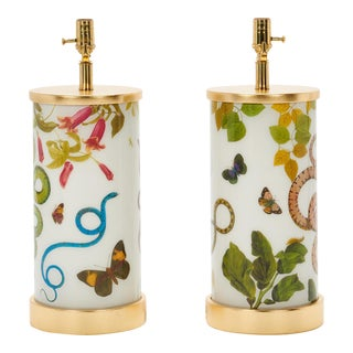 Eden Flora and Fauna Liz Marsh Designs Table Lamps - a Pair For Sale