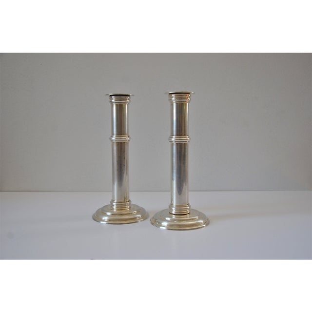 Art Deco Art Deco Silver Plate Candle Holders by Jean Puiforcat, France - a Pair For Sale - Image 3 of 11