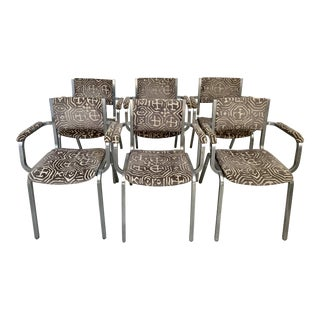 Modern Gray Geometric Velvet Industrial Chairs- Set of 6 For Sale