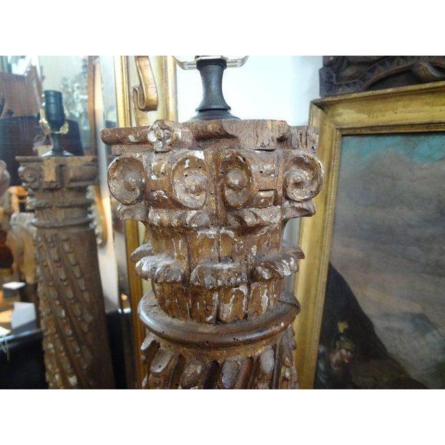 19th Century Italian Giltwood Corinthian Column Table Lamp For Sale In Houston - Image 6 of 11