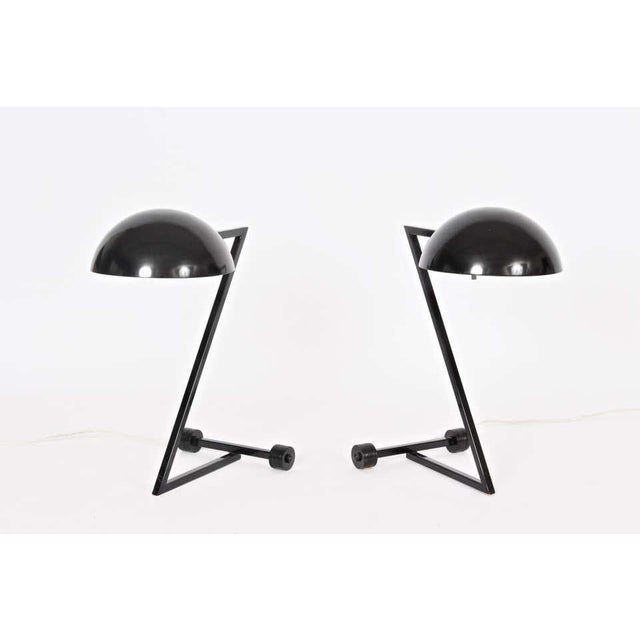"""Postmodern 1980s George Kovacs Style Black """"Z"""" Desk Lamps - a Pair For Sale - Image 3 of 9"""