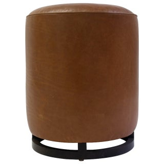Round Leather Pouf on Dark Mahogany Base With Circular Detail at Seat For Sale