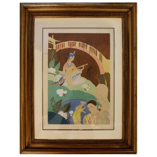 Oriental Lithograph and Watercolor by Umberto Brunelleschi For Sale