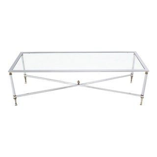 Vintage Chrome Brass X Base Glass Top Long Rectangle Coffee Table For Sale
