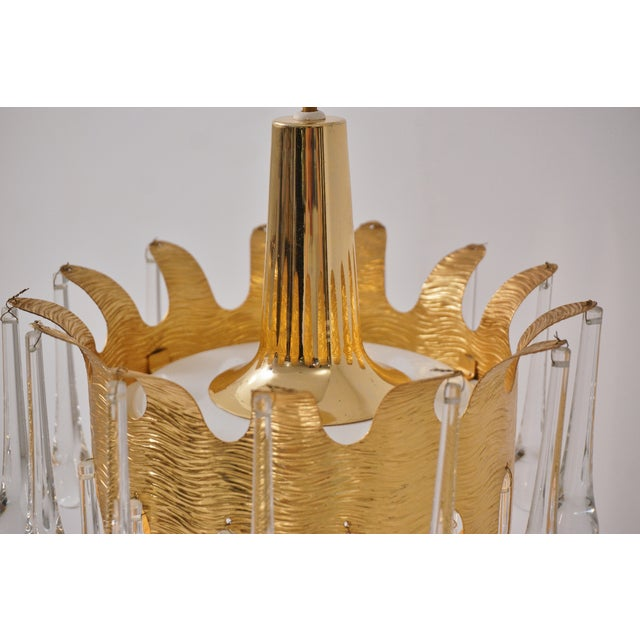 Ernst Palme Pendants for Palwa Gilt Brass & Crystal, 1960's, German - a Pair For Sale - Image 9 of 13