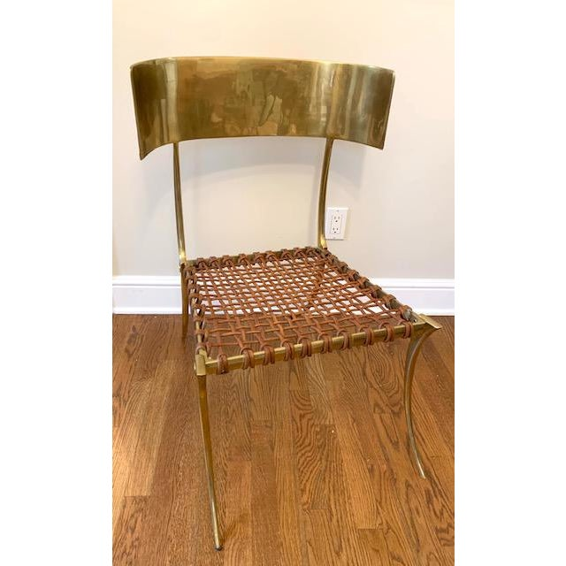 Scala Luxury Scala Luxury Brass Leather Klismos Chair For Sale - Image 4 of 12