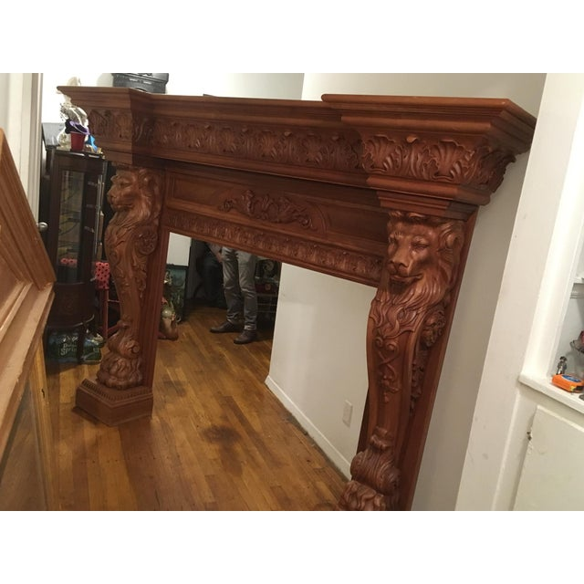 Humongous English Style Custom Carved Wood Lion Mantelpiece For Sale - Image 12 of 13
