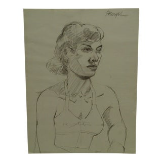 """Tom Sturges Jr. 1950 """"Profile With Bra"""" Original Drawing on Paper For Sale"""