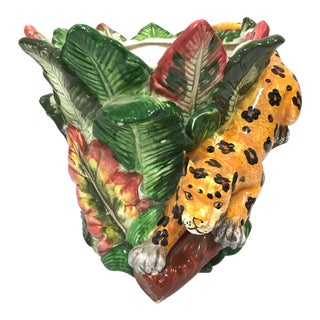 Late 20th Century Vintage Jungle Leopard Flower Pot For Sale