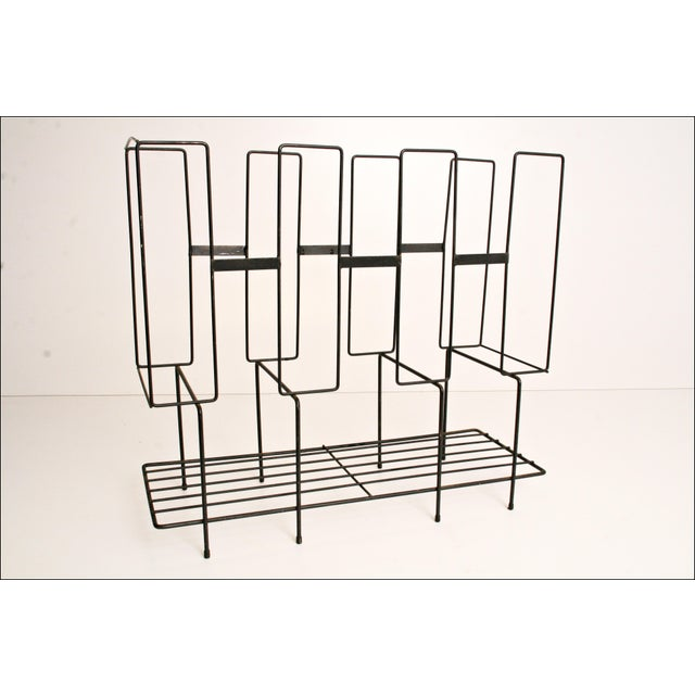 Black Mid-Century Modern Black Wire Record Rack For Sale - Image 8 of 11