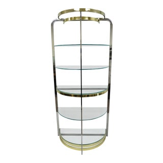 Late 20th Century Chrome Brass Glass Demilune Etagere Half Round Mid Century Modern Display Shelf For Sale