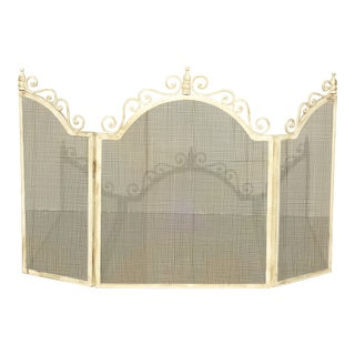 Vintage French Country Off White Fireplace Screen ~ Shabby Chic For Sale