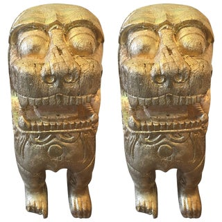 Asian Two Carved Wood Guardian Foo Lions - a Pair For Sale