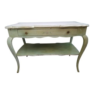 Vintage Hand Painted Light Green and Silver Gilt Marble Top Table For Sale