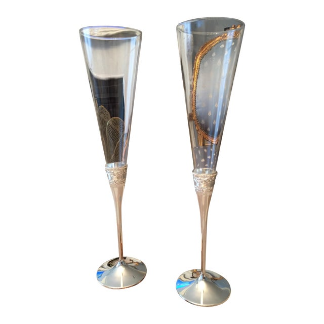 Vera Wang Silver Toasting Flutes - A Pair For Sale