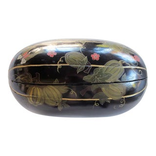 Delightful Japanese Black Lacquered Gourd-Form Box For Sale