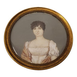 """19th Century """"Young Woman With Short Curly Hair"""" Miniature Portrait For Sale"""