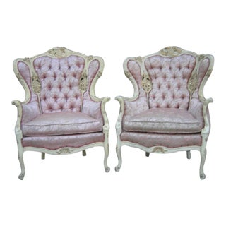 Late 20th Century French Provincial Pink Damask Chairs - a Pair For Sale