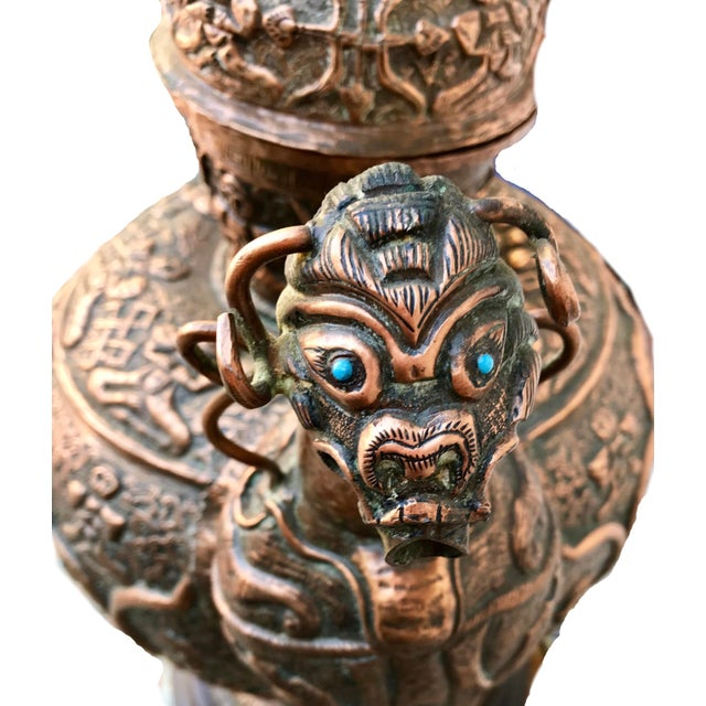 Antique Tibetan Repousse Copper Wine Vessel Lamp With Inlaid Turquoise For Sale In Los Angeles - Image 6 of 7