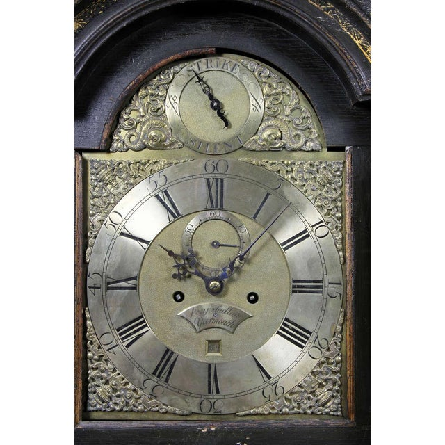 George III Green Japanned Tall Case Clock For Sale - Image 4 of 11