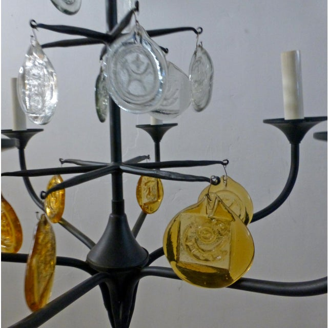 Eric Hoglund 1960s 6 Arm Black Iron and Boda Nova Crystal Chandelier Yellow & Clear Axel Stromberg Ironworks Sweden For Sale In Los Angeles - Image 6 of 8