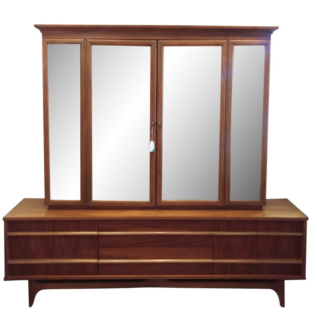 Mid-Century Kagan Style Bowed Front Hutch - Image 1 of 8