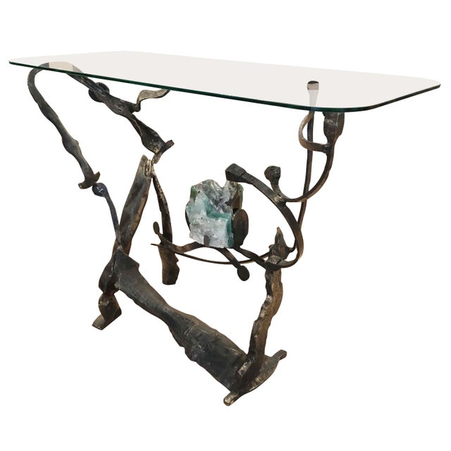 One of a kind brutalist console by Italian artist Salvino Marsura made from wrought iron and with a glass top....