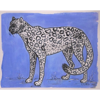 Chinoiserie White Leopard Painting in Blue by Cleo Plowden For Sale