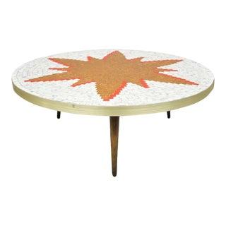 Vintage Mid Century Italian Modern Round Orange Sun Tile Top Coffee Table For Sale