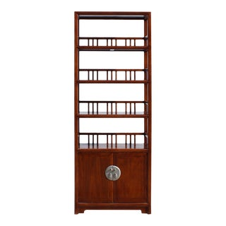 Chinese Distressed Brown 4 Shelves Bookcase Display Cabinet For Sale