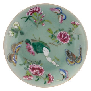 19th Century Vintage Chinese Celadon Porcelain Butterfly Floral Plate For Sale