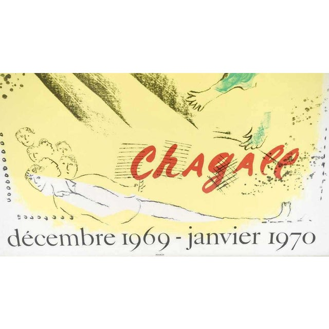Modern Marc Chagall Vintage Exhibition Poster 1969 1970 Galerie Maeght Mourlot For Sale - Image 3 of 6