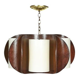1960s Curved Walnut Wood Chandelier