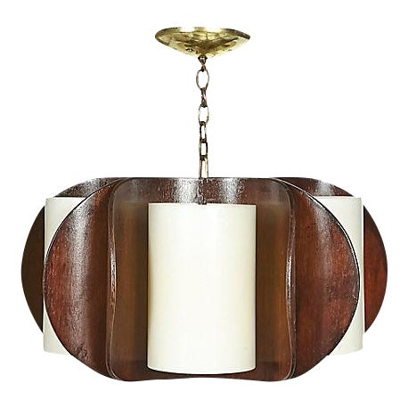 1960s Curved Walnut Wood Chandelier For Sale