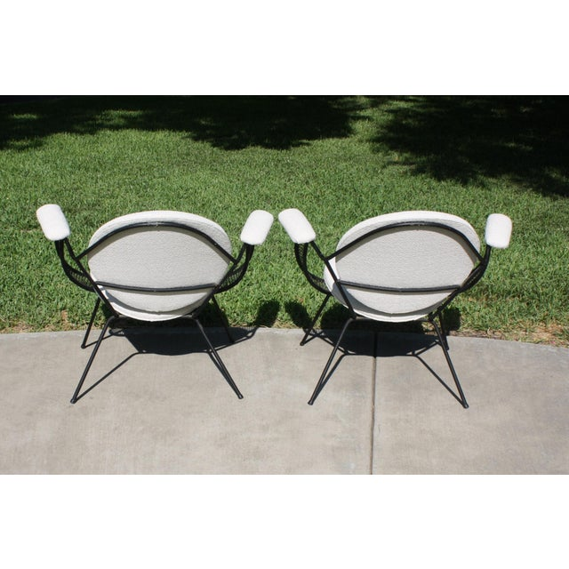 Mid-Century Modern Mathieu Matégot Style Perforated Iron and Bouclé Upholstered Armchairs For Sale - Image 4 of 13