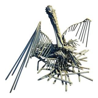 Brutalist Steampunk Pelican Sculpture For Sale